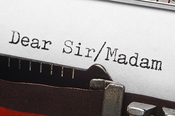 Typewriter typing Dear Sir or Madame