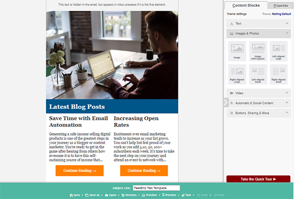 Introducing the FeedBlitz Visual Mailing Editor