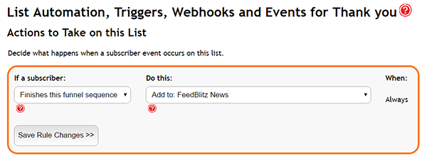 Adding a trigger to your FeedBlitz Funnel to subscribe or unsubscribe to another list once the Funnel has been completed.